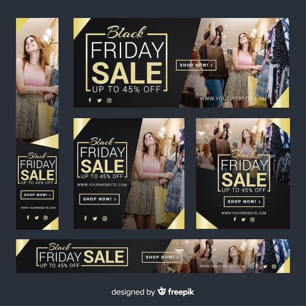 Collection de bannière web vente vendredi noir avec les filles shopping Vecteur gratuit