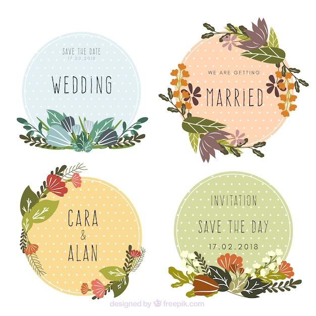 Collection de belles étiquettes de mariage floral Vecteur gratuit