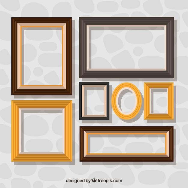 collection de cadres d coratifs en design plat t l charger des vecteurs gratuitement. Black Bedroom Furniture Sets. Home Design Ideas