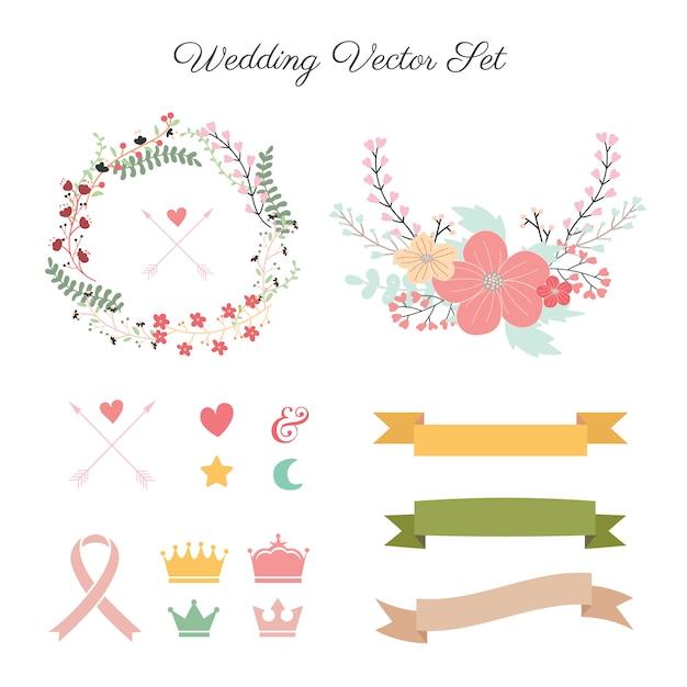 Collection de décoration de mariage  Télécharger des Vecteurs ...
