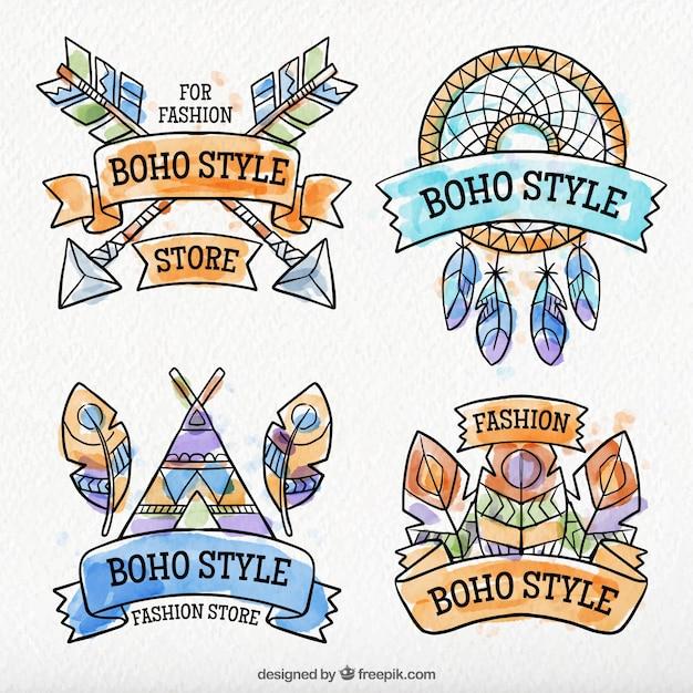 Collection de l'aquarelle boho stickers décoratifs Vecteur gratuit