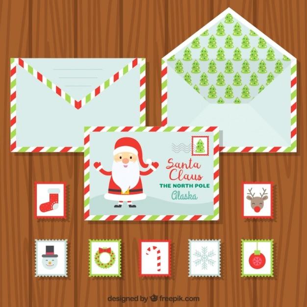 collection de l 39 enveloppe avec des cartes postales et des timbres de no l t l charger des. Black Bedroom Furniture Sets. Home Design Ideas