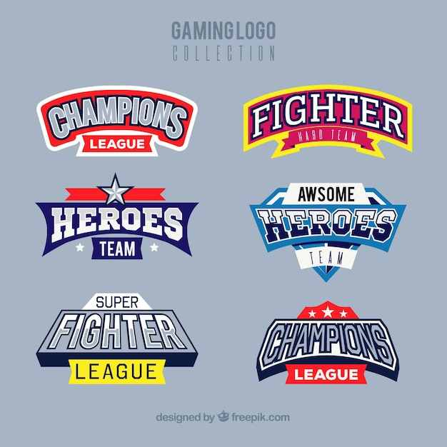 Collection de logo de jeu avec le style de sport Vecteur gratuit