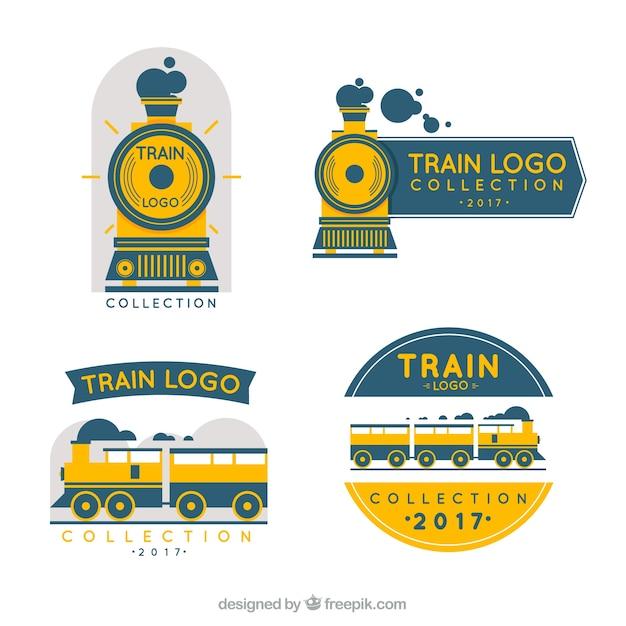 Collection de logo de train en trois couleurs Vecteur gratuit