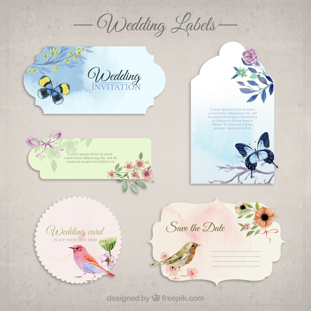 Collection de mariage Invitations Vecteur Premium