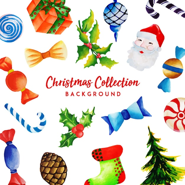 Collection de Noël aquarelle Vecteur gratuit