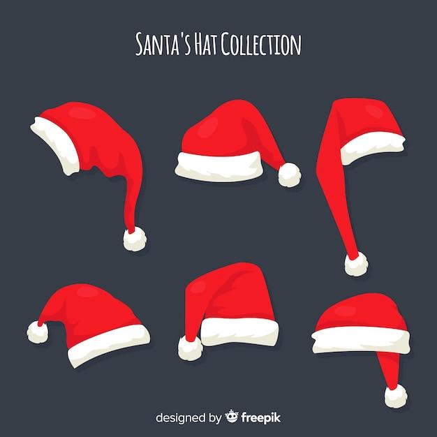 Collection de Noël du chapeau du père Noël au design plat Vecteur gratuit