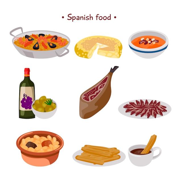 Collection de nourriture espagnole Vecteur gratuit
