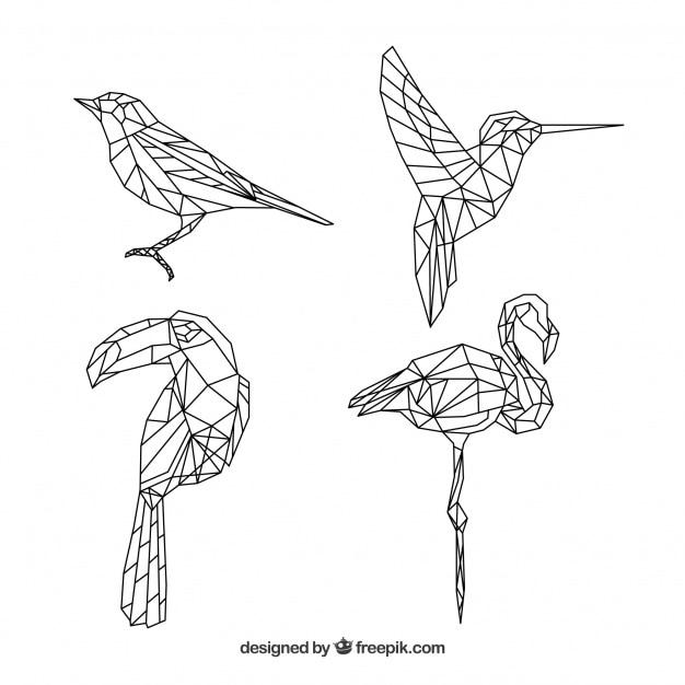 Collection de tatouages d'oiseaux en forme géométrique Vecteur gratuit