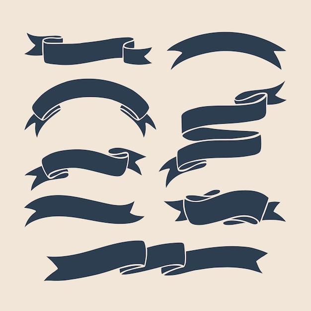 Collection de vecteurs Ribbons Vecteur Premium