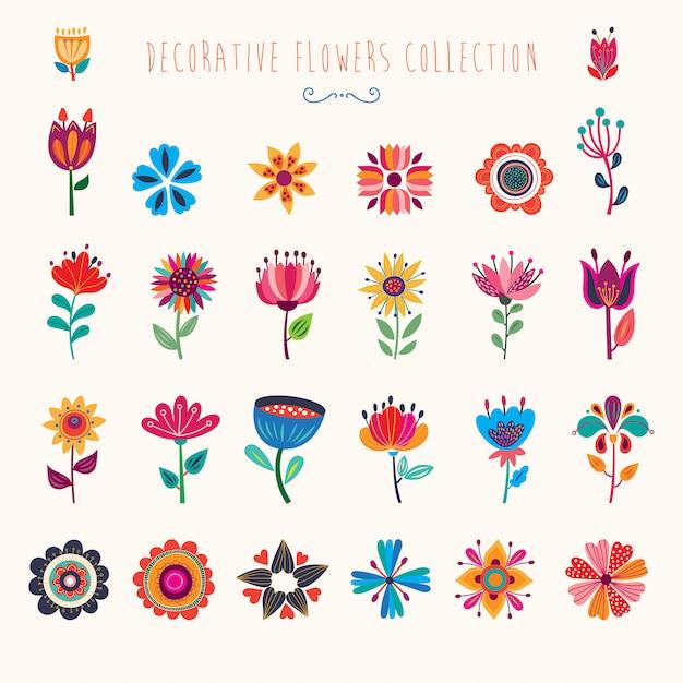 Collection Décorative Abstraite De Fleurs Colorées Isolées Vecteur Premium