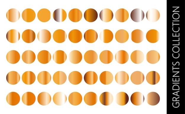Collection De Dégradé De Métal Doré Et Ensemble De Texture De Feuille D'or Vecteur Premium