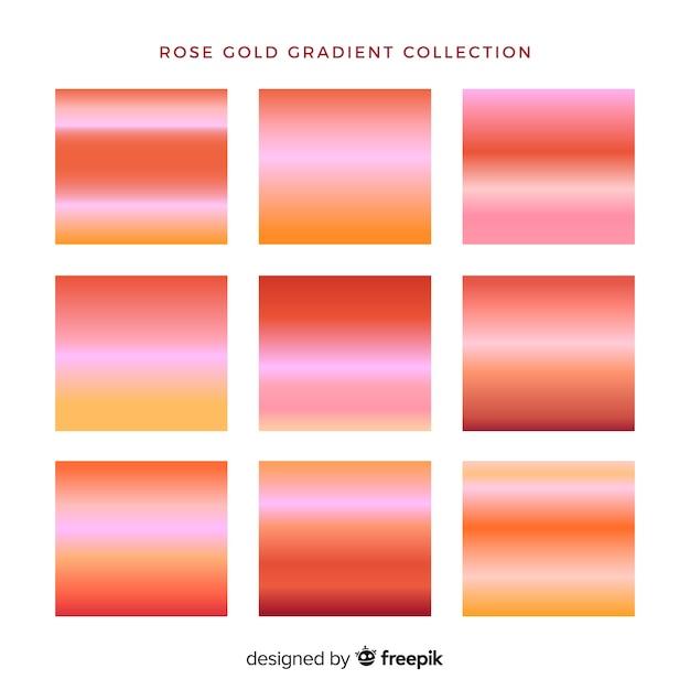 Collection dégradé d'or rose Vecteur gratuit