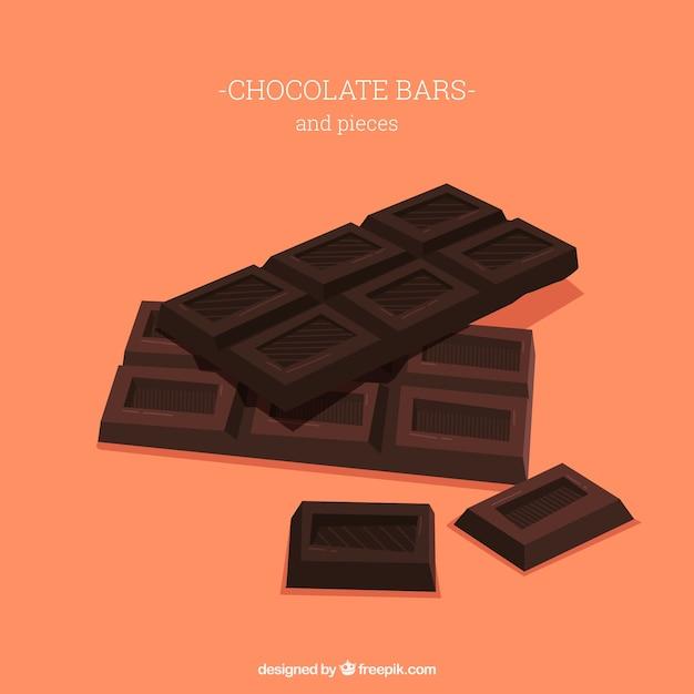 Collection de délicieuses tablettes de chocolat Vecteur gratuit