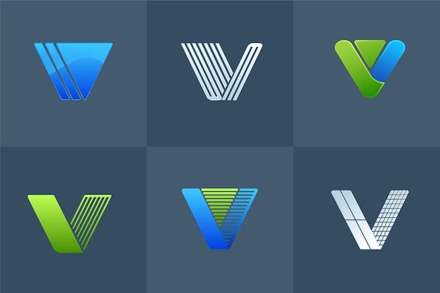 Collection De Design De Logo V Vecteur Premium
