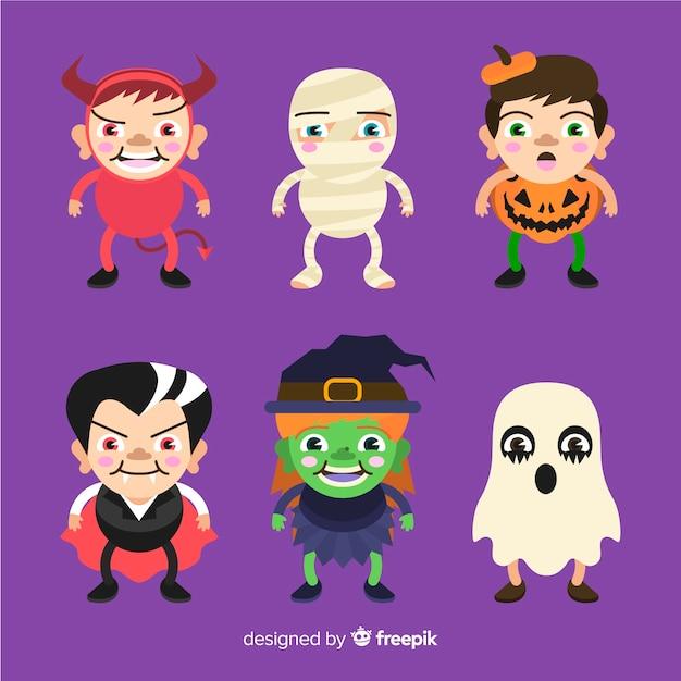 Collection de design plat enfants halloween Vecteur gratuit