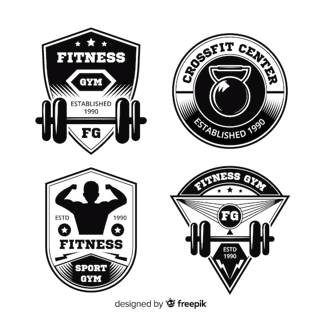 Collection de design plat logo crossfit de motivation Vecteur gratuit