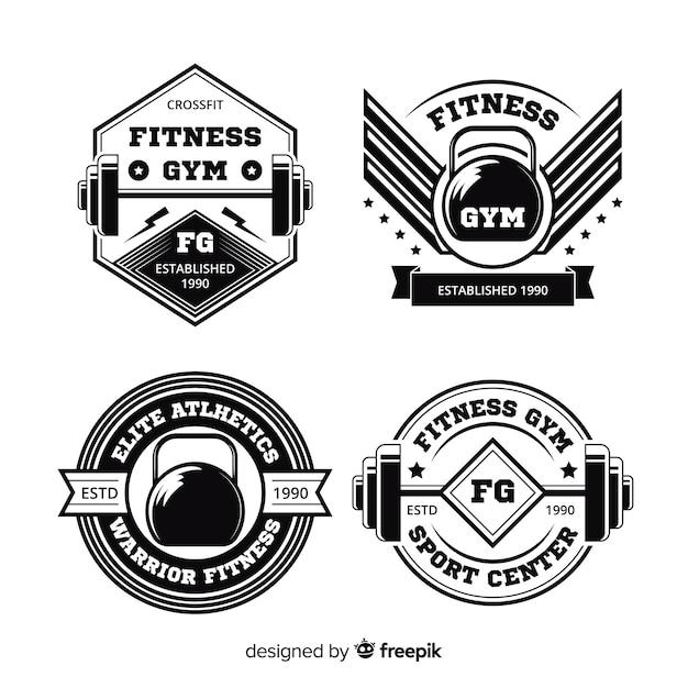 Collection de design plat logo crossfit de motivation Vecteur gratuit