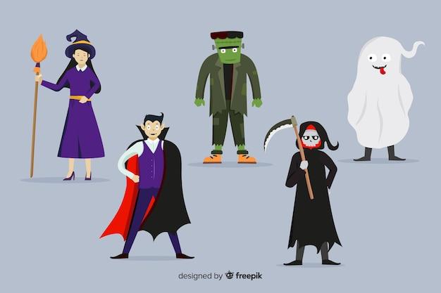 Collection de design plat de personnages de halloween Vecteur gratuit