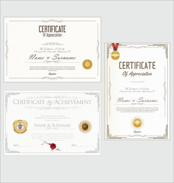 Collection de design rétro certificat ou diplôme Vecteur Premium