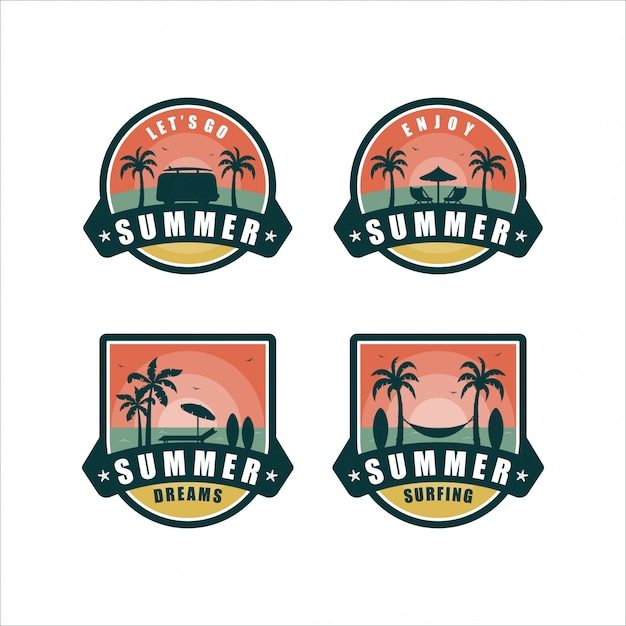 Collection De Design Summer Dreamsbadge Vecteur Premium