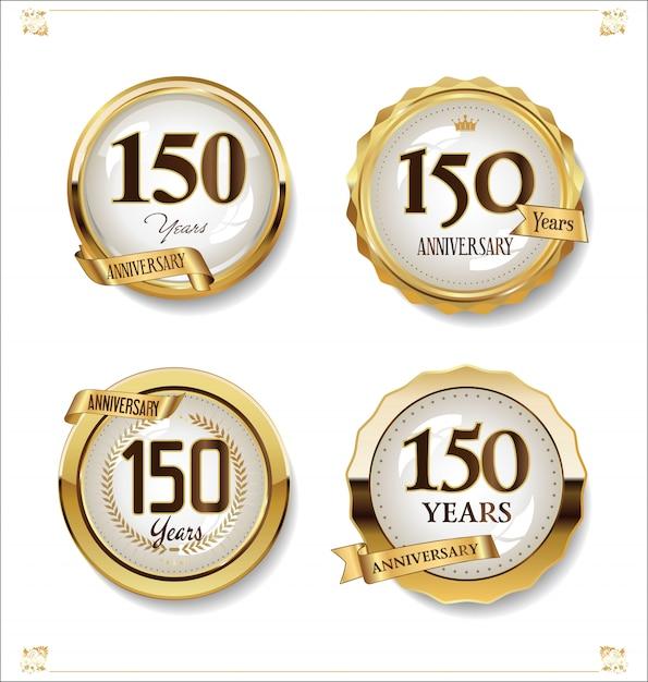 Collection design vintage rétro anniversaire étiquettes dorées Vecteur Premium