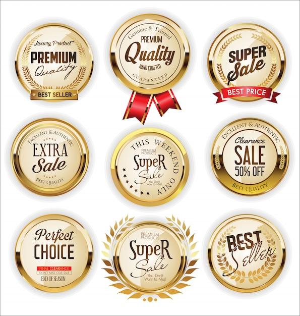 Collection de design vintage rétro des étiquettes de vente d'or Vecteur Premium
