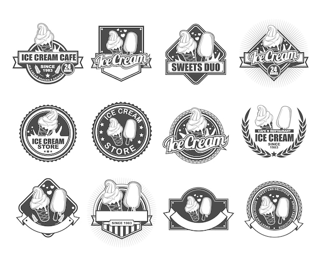 Collection de designs de badge vectoriel définie pour ice cream cafe Vecteur Premium