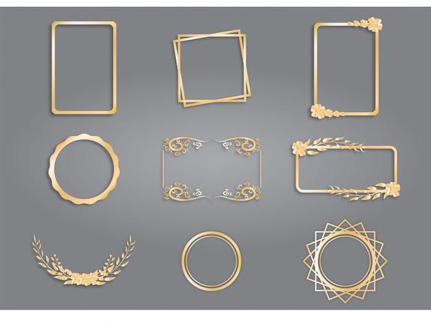 Collection de designs de cadre doré, cadre vintage. Vecteur Premium