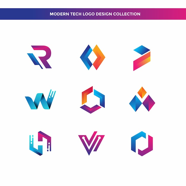 Collection de designs de logo tech moderne Vecteur Premium