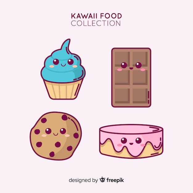 Collection de desserts sucrés adorable dessinés à la main Vecteur gratuit
