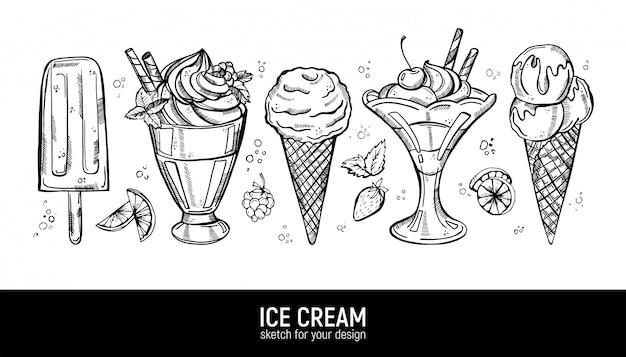 Collection De Desserts Sucrés. Vecteur Premium