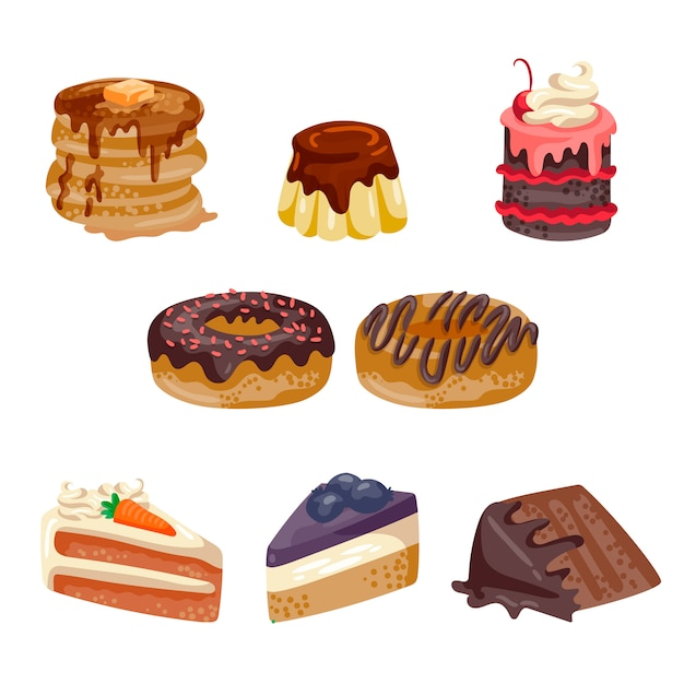 Collection de desserts Vecteur gratuit