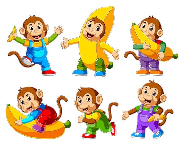 Collection de dessin animé de singe heureux en cours d'exécution Vecteur Premium