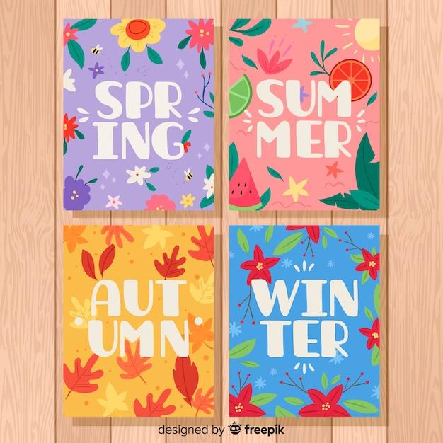 Collection dessinée d'affiches saisonnières à la main Vecteur gratuit