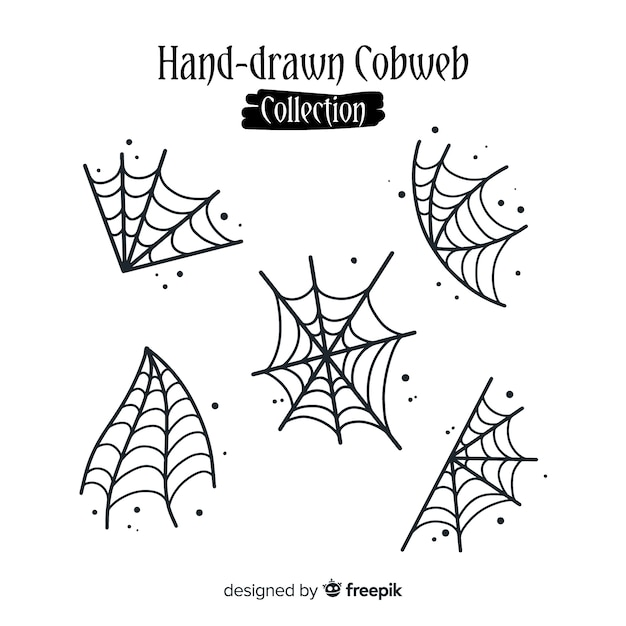 Collection dessinée à la main des toiles d'araignée d'halloween Vecteur gratuit
