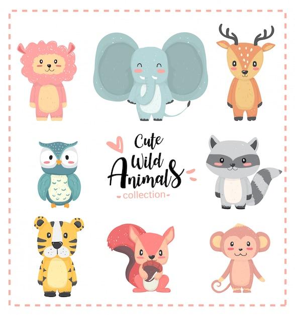 Collection de dessinés à la main pastel animal sauvage mignon pépinière, lama, éléphant, renne, hibou, raton-laveur, tigre, écureuil, singe Vecteur Premium