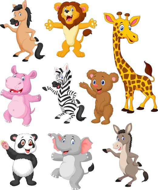 Collection de dessins animés animaux sauvages | Télécharger des Vecteurs Premium