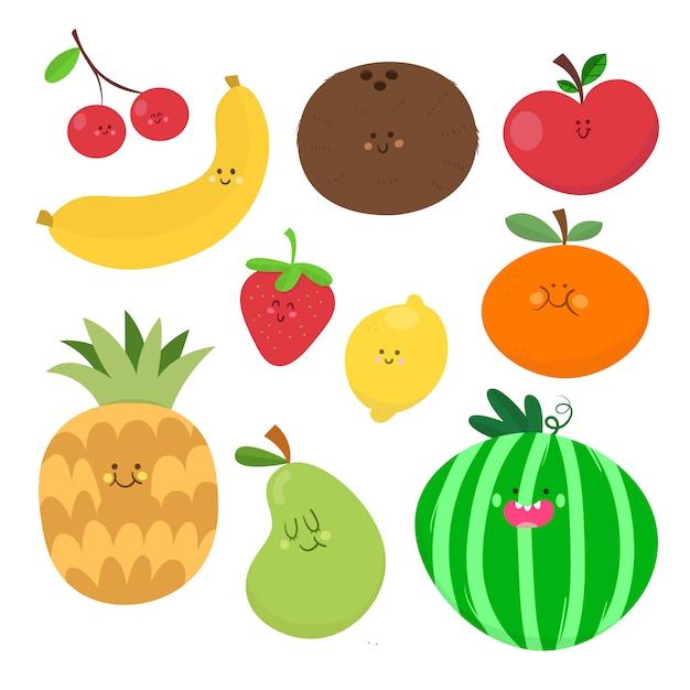 Collection de dessins de fruits vectoriels Vecteur Premium