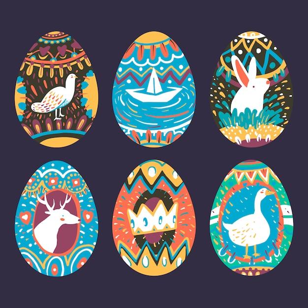 Collection de dessins d'oeufs de pâques Vecteur gratuit
