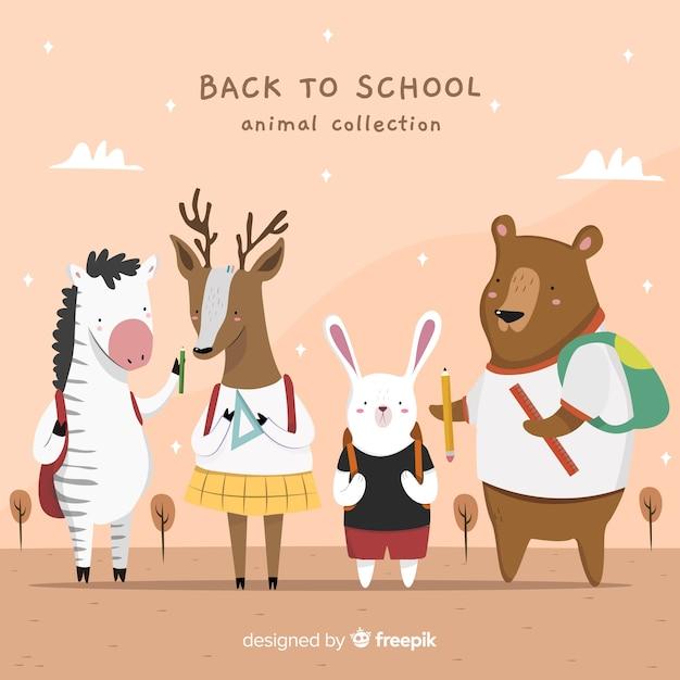 Collection détaillée d'animaux à la rentrée des classes Vecteur gratuit