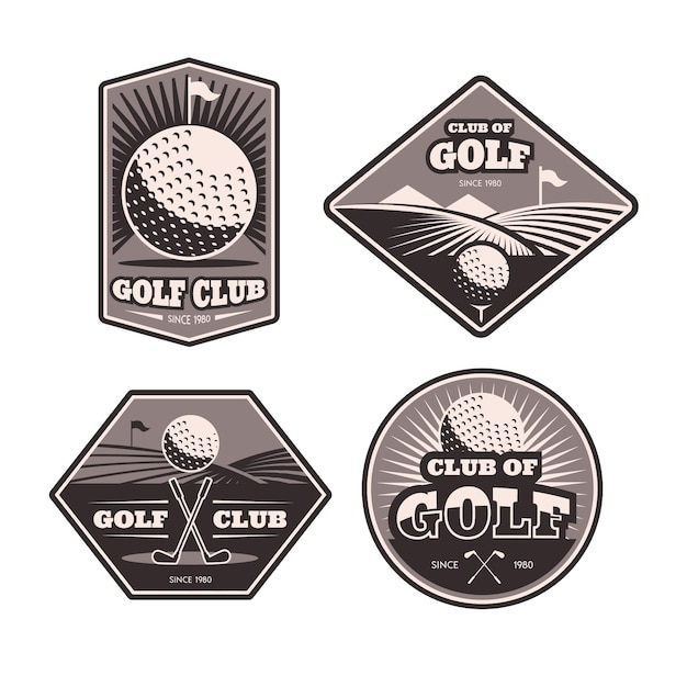 Collection Détaillée De Logo De Golf Vecteur gratuit