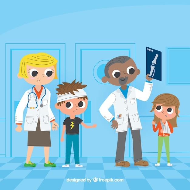 Collection de deux médecins avec des patients Vecteur gratuit
