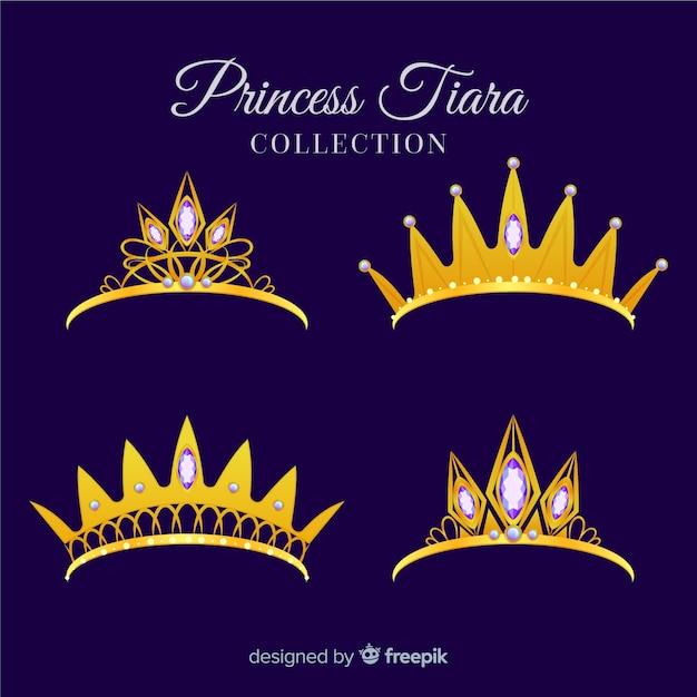 Collection de diadème princesse doré plat Vecteur gratuit
