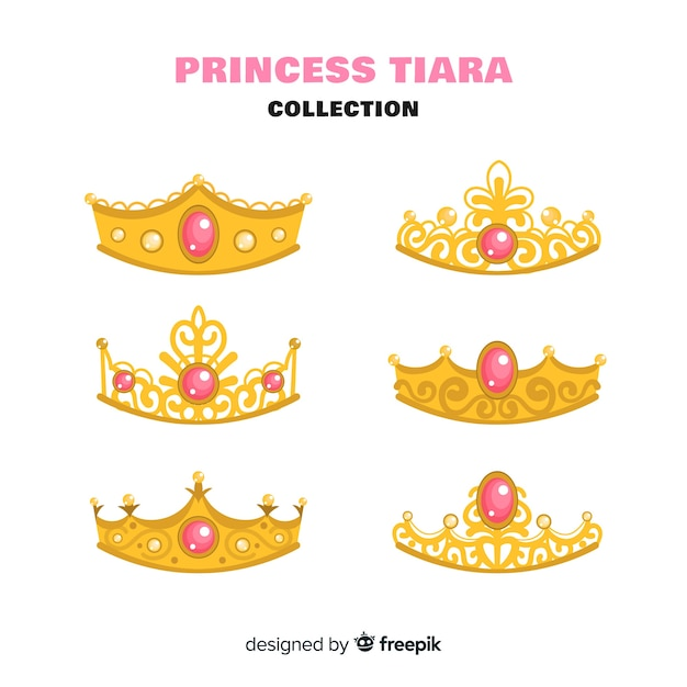 Collection de diadème de princesse d'or Vecteur gratuit