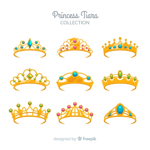 Collection de diadème de princesse d'or Vecteur gratuit