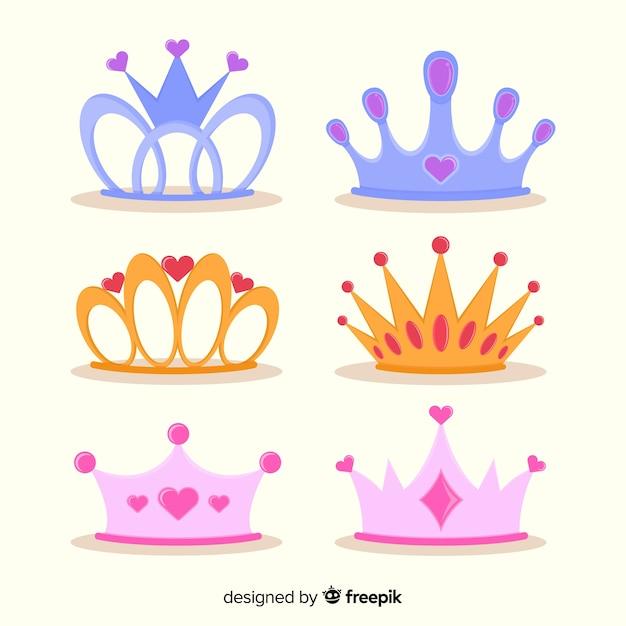 Collection de diadème princesse plate Vecteur gratuit