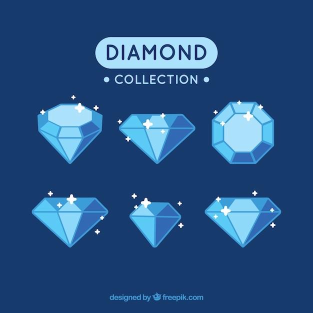Collection De Diamants Brillants Dans Des Tons Bleu Vecteur gratuit