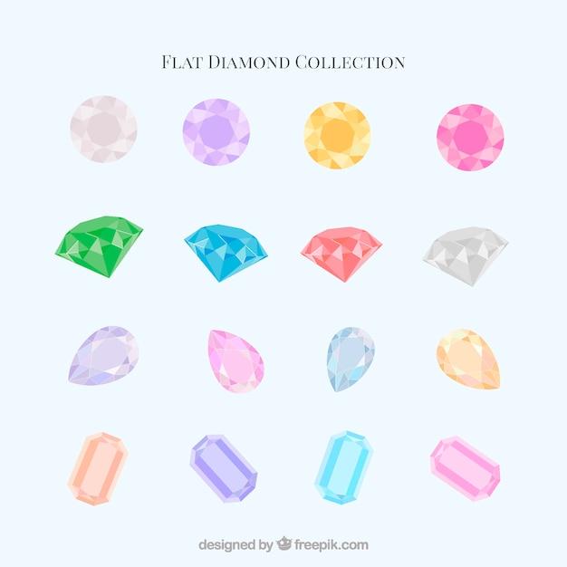 Collection de diamants en design plat Vecteur gratuit
