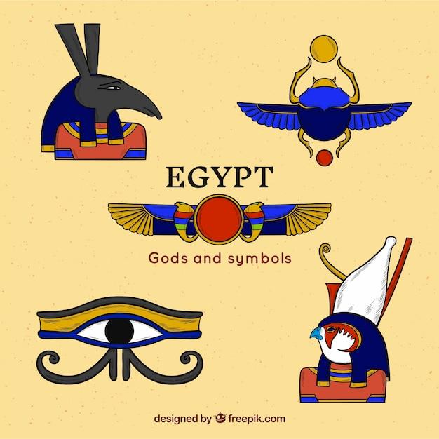 Collection De Dieux égyptiens Vecteur gratuit